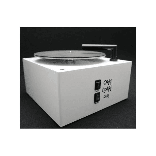 Okki Nokki Record Cleaning Machine in White with OEM perspex lid and 7 inch arm