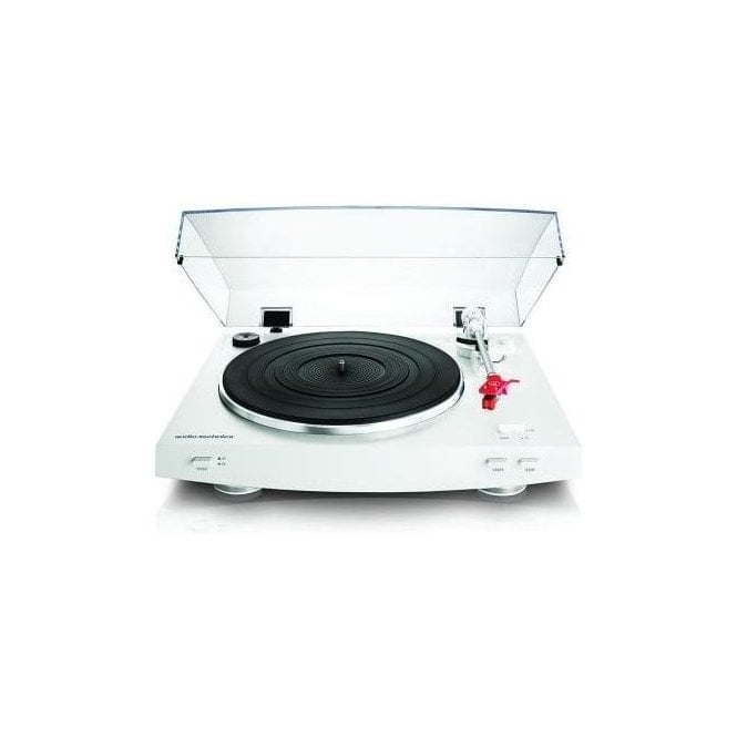 Audio Technica AT-LP3 White Turntable Package with Active Bluetooth Speakers