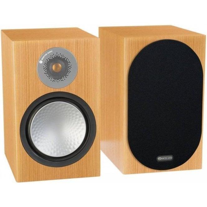 Monitor Audio Silver 100 Bookshelf Speakers - Natural Oak Finish (Ex-Demo)